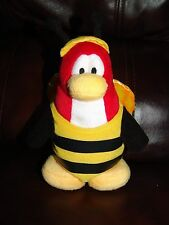 Disney Club Penguin Red and White Bumble Bee Penguin Plush Doll 8""