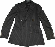 "POLO RALPH LAUREN GRAY STRIPE DOUBLE BREASTED ""GARRISON""  MEN'S SUIT-38R- ITALY"