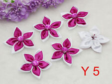 Big Size DIY 5PCS Rose red Satin Ribbon Flower with Crystal Bead Appliques Trim