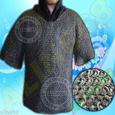 8 mm Chainmail Hauberk XL Medieval Chainmail Shirt Flat Riveted with Flat Washer