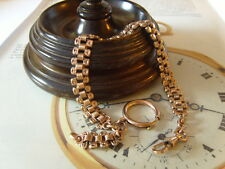 FRENCH VICTORIAN 12CT ROSE GOLD/F FANCY LINK POCKET WATCH CHAIN/ALBERT. C~1890's