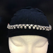 Indian Costume Jewellery Head Piece Matha Patti Tikka Silver Tone Stone
