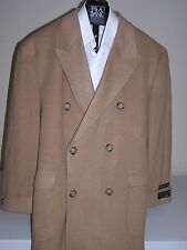 $655 New Jos A Bank 100% Camel Hair full length double breasted topcoat 46 XL