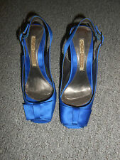 270/4 Buffalo Damen Pumps Peetoe Gr. 38 royal blau Sling High Heels 10 cm Satin