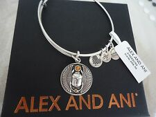 Alex and Ani SCARAB Russian Silver Finish Charm Bangle New W/ Tag Card & Box