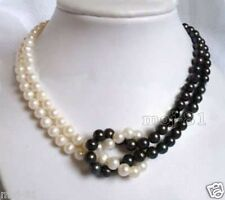 "Fashion Women's 2 Rows 7-8mm White&Black Akoya Freshwater Pearl Necklace 18"" AAA"