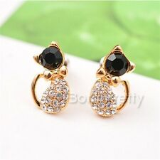 1Pair Cute Cat Rhinestone Pattern Ear Studs Womens Mini Earrings Jewelry Gift