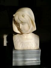 ANTIQUE ALABASTER BUST KOCHENDORFER FOUNDRY MARK DATED 1891 SIGNED