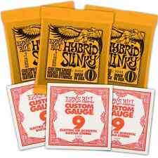 Free 3 9s & Ernie Ball Electric Guitar Strings 09-46 3pack Hybrid Slinky