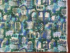 Vintage 60s Abstract Blue Green Spanish Architecture Barkcloth VAT PRINTS Fabric
