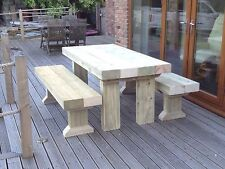 SANDED  Wooden Sleeper Outside Table And Benches /Garden Furniture