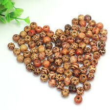100Pcs Mixed Attractive Wooden Round Beads 10mm for Necklace Jewelery Making