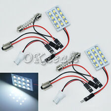 2pcs White 12 LED Panel 1210 SMD Interior Dome Light T10 Festoon BA9S Bulb Lamp