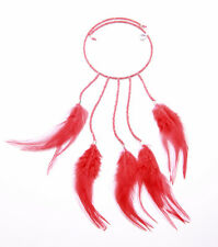 BLOOD RED BEAD & FEATHER STRETCH CHOKER WITH DROP PENDANT FOR IBIZA CHIC (ZX43)