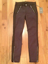 NWT Seven 7 For All Mankind Black / Gray SKINNY Zipper Jeans Women 24 AW6340215A