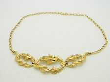 VTG Monet Signed Art Nouveau Style Floral Flowers Chain Link Necklace Choker