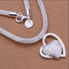 Sterlingsilber Halskette mit Anhänger Herz dicke Schlangenkette