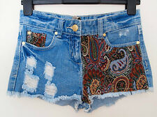 PRIMARK FLORAL BAROQUE FESTIVAL HIGHWAIST  FRINGE DENIM JEANS HOT PANTS SHORTS 8
