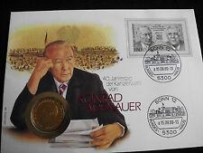 """Numisbrief Deutschland 1989 Adenauer 2 DM Münze 1982 """"J"""" Sammlerstück"""