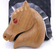 Vintage RARE Clear Lucite Red Cabochon Eyed Carved Wooden Horse Pin Brooch