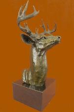 Bronze Marble Statue Elk Deer Stag Bust Head Lodge Cabin Wildlife Art Sculpture