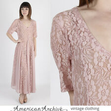 Vintage 80s Sheer Lace Dress Floral Wedding Boho Gypsy Cocktail Party Drape Maxi
