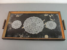 VANITY SERVING TRAY WOOD WOODEN FRAME LACE DOILY DESIGN PRINT GLASS TOP 19x11