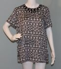 NWT Womens Michael Kors Short sleeve Jewel Print Black/white Blouse top Size 10