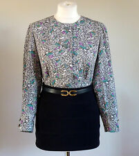 Vintage Retro Beautiful Floral Paisley Print Casual Office Work Shirt/Blouse 10
