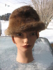 "#R47 men women FEDORA W/BRIM MUSKRAT FUR HAT LIGHT BROWN SIZE 21.75"" IN"