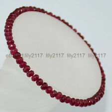 beautiful! 2x4mm Faceted ruby Roundlle Gemstones Bracelet 7.5 inch