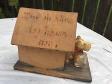 Old Pyrography Flemish Art Figural Dog House w Scottie & Gardenia Pefume Bottle