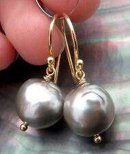 GORGEOUS TAHITIAN SILVER GREEN 10.9mm CULTURED PEARL 24K VERMEIL EARRINGS