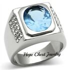 Stainless Steel Oval Shape Light Blue Cubic Zirconia Men's Ring - SIZE 8 TO 10