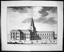 1724 Kip Large Antique  Folio Print of Rochester Cathedral, Kent, England