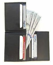 Black 100% Leather Thin  Credit Card ID Card Holder Flip Top Mens Wallet LP14