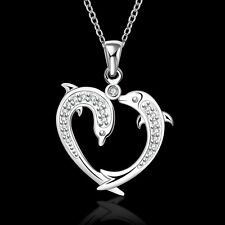 925 Silver Plated Crystal Heart Dolphin Pendant Necklace 18 inch NF