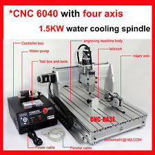 four 4 axis 6040 1500W spindle cnc router engraver engraving milling machine