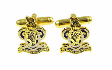 QUEENS ROYAL HUSSARS CLASSIC GOLD PLATED GENUINE REGIMENTAL CUFFLINKS