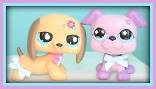"❤️2 Littlest Pet Shop LPS Large JUMBO 4.5"" DECO Pets Boxer & Dachshund DOGS Lot❤"