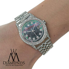 ROLEX Datejust 36mm Black Mother of Pearl Diamond Dial Stainless Steel Watch