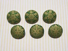 6 Green with Gold Snowflake Fabric Covered Buttons - 20mm