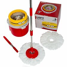 Microfiber Spin Spinning Mop Easy Floor Mop W/Bucket 2 Heads 360°Rotating Head