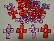 20 Pcs Red And Purple Acrylic Faceted Cross Pendants / Charm