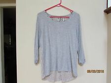 juniors size S KISCHE Gray Knit Top See Through Lace Back Used 3/4 sleeve used