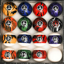 Dark Color Marble  Swirl Pool Table Billiard Ball Set Regulation Size and Weight