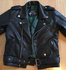 Genuine Leather Vtg Skinny Cropped Green Lining Motorcycle Biker Moto Jacket 8 4