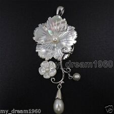 Fashion Mother of pearl Abalone Carved White Shell Flower long pendant Necklace