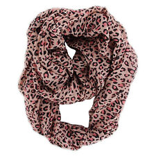 "NEW WOMEN'S FASHION PINK RED LEOPARD ANIMAL PRINT INFINITY LOOP SCARF 37"" BY 70"""