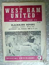 1966 WEST HAM UNITED v BLACKBURN ROVER, 12th March (League Division One)
